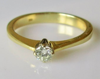 18ct Gold Diamond Solitaire Ring UK Size 0 1/2 USA 7 1/4