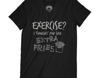 Fathers day shirt Exercise I thought you said extra fries shirt Geeky shirt Nerdy T shirt humor Pun t-shirt Fun shirt Geeky tee APV16