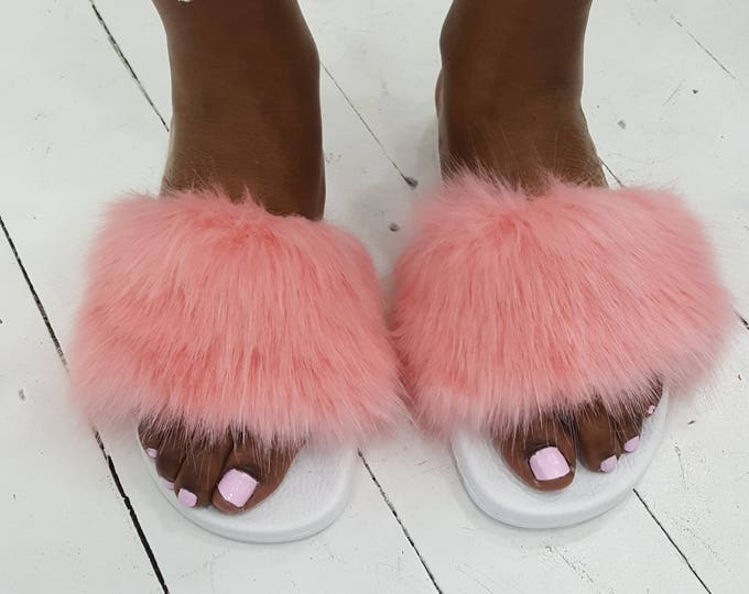 Leather slides,rubber,fur  slides,women's shoes. Fluffy shoes.pink shoes.