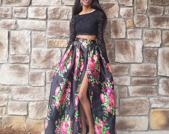 "Florals on Black High Slit Satin Ball Skirt ""Tiffany"" XS-6XL Any Height"