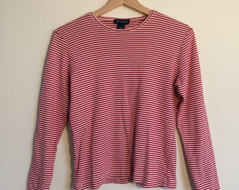 Vintage Striped Shirt Red Striped Shirt Long Sleeved Cotton Blouse French Striped Shirt 90s Clothing 90s Shirt Ann Taylor