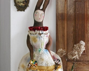 Hare Doll, Handmade Hare, Fabric Hare, Hare Puppet, Circus Figurine, primitive Doll, Circus Art, Vintage Hare, Doll Figurine Huppel the Hare