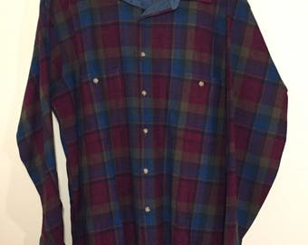 PENDLETON Vintage 100% Wool Plaid Flannel Shirt sz Large EX+ cond Made in USA Nice Colors