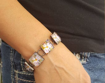 Pink Daisy Bracelet in Gunmetal setting with Square Glass Cabochons  Flower Jewelry Photo Jewelry Photo Bracelet Nature Jewelry