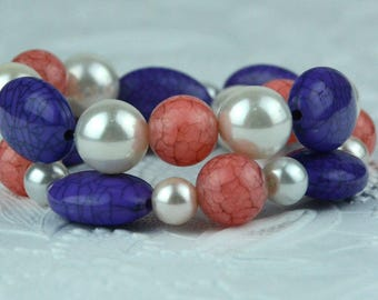 Child's Bracelet Set with Pink, Purple and White Beads