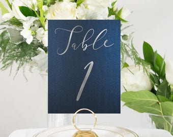 Navy and Silver Foil Modern Script Table Numbers Handmade Wedding #0136