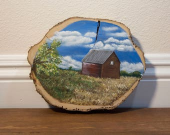 Oregon Barn Original Acrylic Painting on a Cypress Tree Wood Slice, Rustic Wall Art, Small Painting
