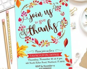 THANKSGIVING Invitation, Thanksgiving Invite, Thanksgiving Party Invitation,Thanksgiving Dinner Invitation,Thanksgiving Digital,Thanksgiving