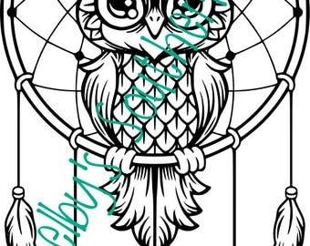 Owl with key dreamcatcher - SVG