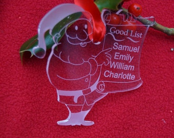 Santa's good list decoration, personalised decoration, Good list, Santas naughty list, Father Christmas, personalised christmas decoration