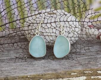 Seafoam Blue Sea glass Dangles! Sterling Silver Earrings. Sea glass earrings. Blue sea glass earrings.
