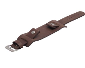 Genuine leather cuff watch band - brown - 20mm, 22mm, 24mm