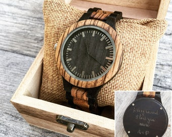 Wooden Watch, Men's Wooden Watch, Engraved Watches for Men, Gift for Him, Personalized Gift, Boyfriend Gift, Anniversary Gift, Groom Gift