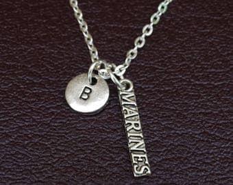 Marine Necklace, Marine Charm, Marine Pendant, Marine Jewelry, Marine Wife Necklace, Marine Girlfriend, Military Wife Necklace, Marine Gifts