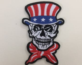 Skull Patch Embroidered Iron On Patch American Skull Patch, Amrican Hat Iron on Patch