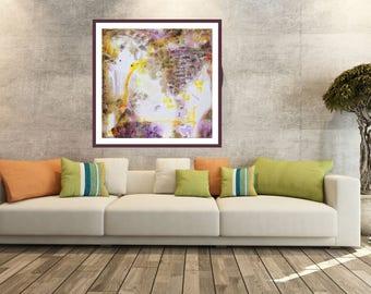 Giclée canvas print, abstract modern painting, wall art decor, brown yellow print, housewarming art, cancas painting, luxory office interior