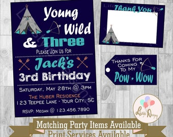 Tribal Birthday Invitations - Young Wild and Three Invitation - Teepee - 3rd Birthday Party - Boho - Boys Birthday Invite - Printable