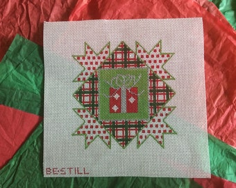 Christmas Wrapping: a hand-painted needlepoint canvas