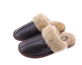 Mens Sheepskin Slippers! Really elegant and classic ! High quality handmade!