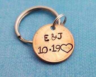 Penny Keychain, Personalized Keychain, Lucky Penny, Couples Keychain, Anniversary Gift for Boyfriend, Gift for Husband, Hand Stamped, Custom
