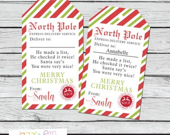 Etsy your place to buy and sell all things handmade north pole gift tags santa gift tag christmas gift tags printable gift tags negle Choice Image