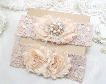 Champagne Wedding Garter Set, Champagne Beige Lace Bridal Garter, Cream Shabby Flower Garters, Silver Gold Crystal Rhinestone Pearl Bling