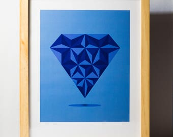Simple Minimal Poster, Diamond Art, Minimalist Decor, Wall Decor, Blue Art Decor, Geometric Art
