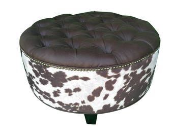 "30"" VEGAN Leather and Cowhide Ottoman"