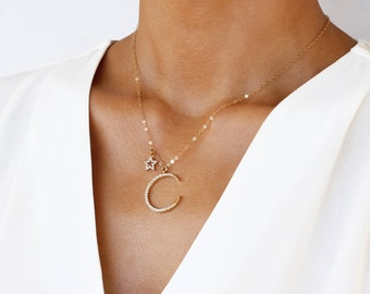 Love you to the moon and back, Star and Crescent Moon Necklace, Gold Star Necklace, Gold Moon Star Necklace, Moon Necklace, Gift for Mom