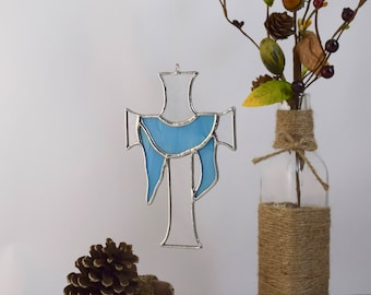 Cross Decor, Stained Glass Small Draped Cross wall art decor, Grandmother gift, Gift under 30, Glass Gifts, Easter Gift, Stained Glass Cross