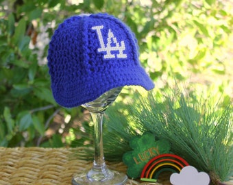 Baby Baseball Hat, Kids Ball Cap, Dodgers Newborn baseball hat, Los Angeles DODGERS inspired(Handmade by me and not affiliated with the MLB)