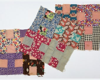 Set of three antique unfinished quilt squares, 4-H pattern, 1930s-40s, cotton and feedback fabrics