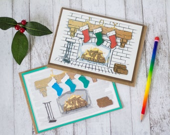 WINTER SCENE FIREPLACE Stockings Illustrated 3D Card- 5x7, Christmas, Holidays, Gifts, Joy