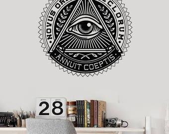 Wall Vinyl Art Mural Picture All Seeing Eye Illuminati Parlour Decal (#2692dn)