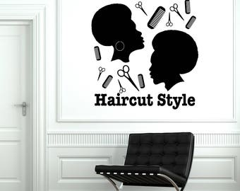 Vinyl Wall Decal Hair Salon Afro Haircut Style Hairdresser Tools Stickers Mural (#2536di)