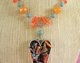 Coral and Turquoise Ocean-themed Resin Necklace
