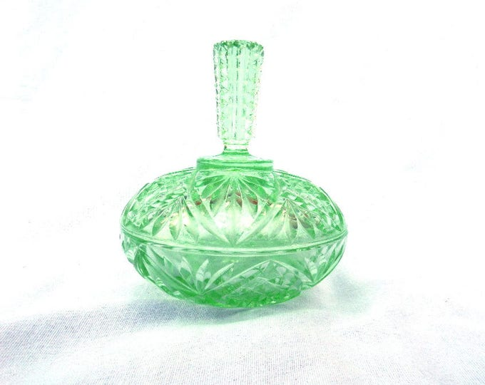 "Green Glass Powder Jar, Trinket Pot, Exquisite Lid, Classic Art Deco, Vintage 1930's Dressing Table Piece, Immaculate Condition, 6"" x 4.5"""