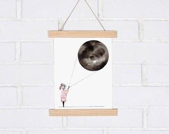 Illustration illuminating the Moon