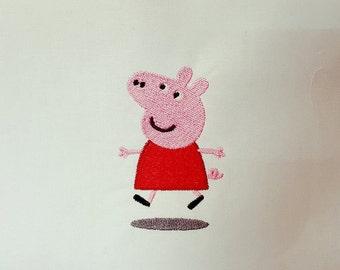 Peppa Pig PeppaPig! - embroidery design 4 x 4 - baby burpcloth or bib design - new baby toddler little kids design shower baby