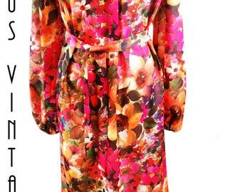 """Plus Size UK 26 Vintage 1970s Floral Maxi Dress Boho Linzi EU 54 US 22 Bust 52""""  133cm"""