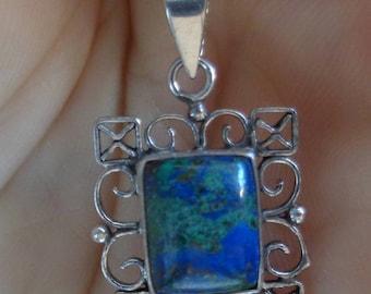 Chrysocola Sterling Silver Pendant