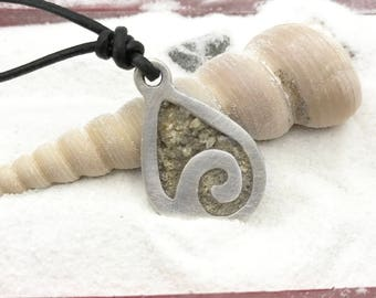Silver Beach Sand Necklace | Beach Necklace with Sand | Silver Wave Necklace | Beach Memories | Beach Lover Jewelry | Ocean Jewelry