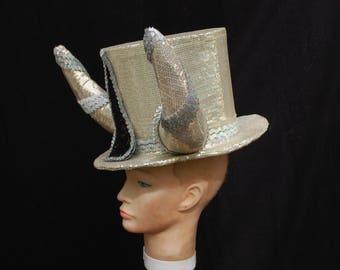 Silver devil top hat