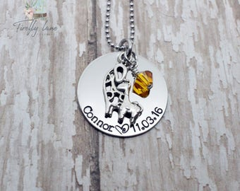 Hand stamped mommy necklace with giraffe mom and baby charm and Swarovski crystal birthstone