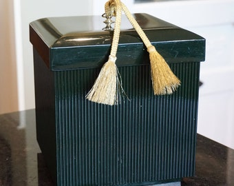 Vintage Taste Seller by Sigma Hunter Green Lacquer Ware Square Ice Bucket/ Gold Tassel Ice Bucket/ Hollywood Glamour/ Asian Design