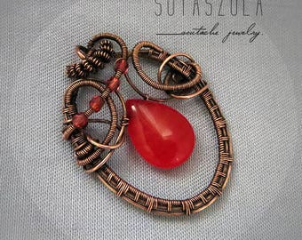 SALE necklace Wire wrapped red Agate necklace gemstone necklace Solid Copper Jewelry Gothic wire jewellery Celtic raspberry pendant