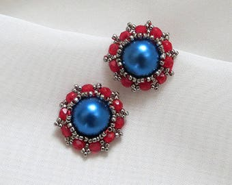 Red blue Earrings, pearl navy blue studs, Stud Earrings, navy blue earrings, Embroidered, vintage studs, Red Post Earrings