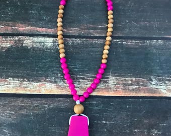 Nursing Necklace - Teething Necklace for Mom - fuscia pink, Wood & Silicone teething necklace - babywearing necklace - New Mom Gift