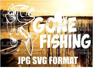 Gone Fishing Fisherman SVG Cut File Silhouette Cameo