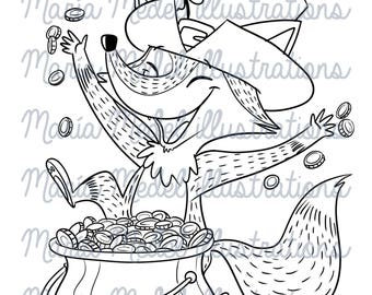 Página para colorear de ST PATRICK FOX + sigital estampilla para scrapbooking
